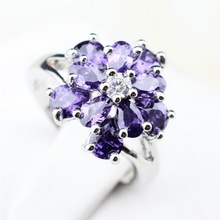 Water Drop Purple Amethyst White Topaz Rings For Women  Silver Flower Shaped Jewelry 2014 HOT! Graceful Gift R348(China (Mainland))