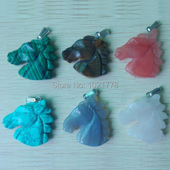 2016 hot sell carved mixed natural stone horse head pendants for necklace jewelry making 6pcs/lot Wholesale Free shipping(China (Mainland))