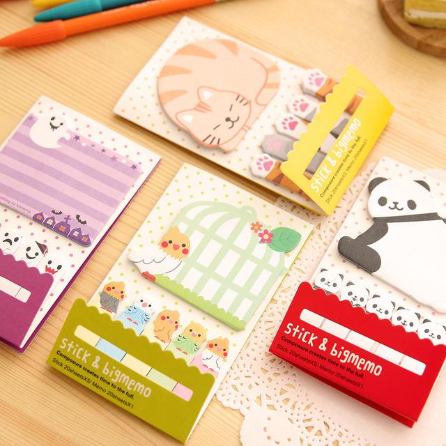 Животных кошка панда милый каваи заметки разместить его блокнот школьные принадлежности планировщик наклейки бумажные закладки корейский канцелярские