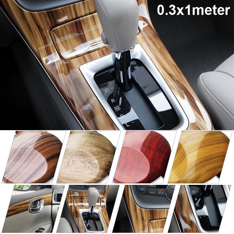 1xLuxury Wood Grain internal Natural Decals Sticker Car Decorative Clean Sticker(China (Mainland))