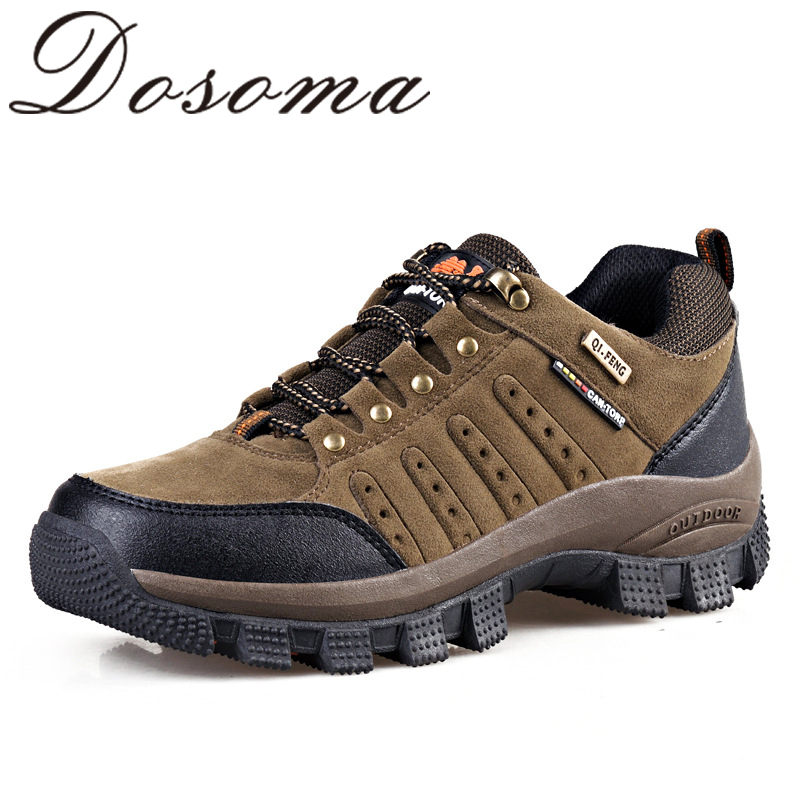 2015 New Spring Men Leather Outdoor Climbing Waterproof Hiking Shoes Sport Mountain Walking Trekking Shoes Rubber Lace-Up Boots(China (Mainland))