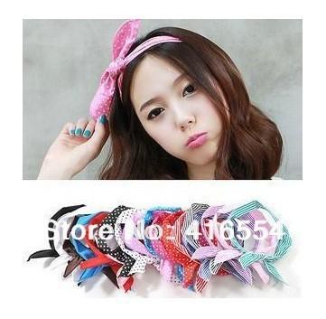 Fashion Korea Rabbit Bunny Ear DIY Wire Headband Scarf Hair Band Bow Head Wrap Polkadot FREE SHIPPING 36PCS/LOT