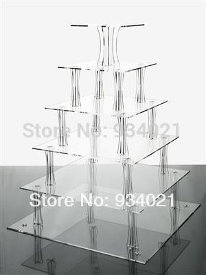 High Quality 6 Tier Acrylic Square Cake Stands For Wedding Perspex Cupcake Display Stand(China (Mainland))