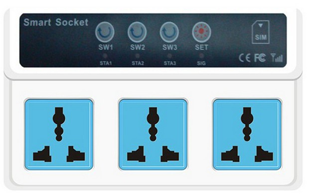 Cellphone Phone PDA GSM Remote Control home machine 3 Sockets Smart Socket Power Switch(China (Mainland))