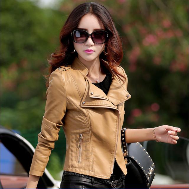 Большой размер M-4XL женская кожаный жакет 8 Цветs мода тонкий Pu мотоциклов кожаное ...