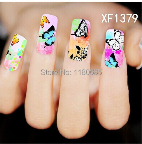 10 Sheets/lot Colorful Flower Butterfly style water transfer Nail Art stickers Tips nails sticker Decal nail tools - The Fashion Leader store