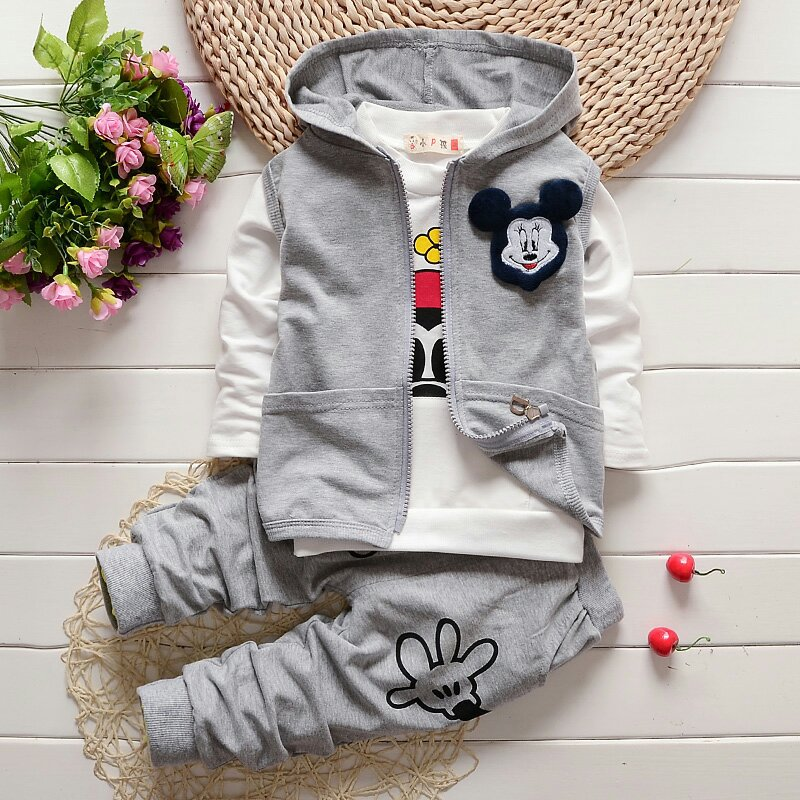 3 Piece Kids Boys Girls Clothes Autumn 2016 Children Cotton Hooded Vest+Pullover+Pants New Toddler Girls Boys Clothing Set T1836(China (Mainland))