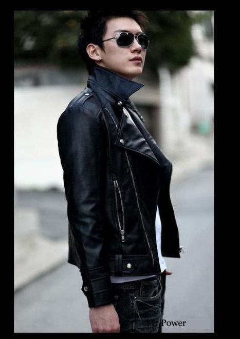 Black brown Diagonal zipper mens leather jacket biker men leather coat mens jackets and coats brand