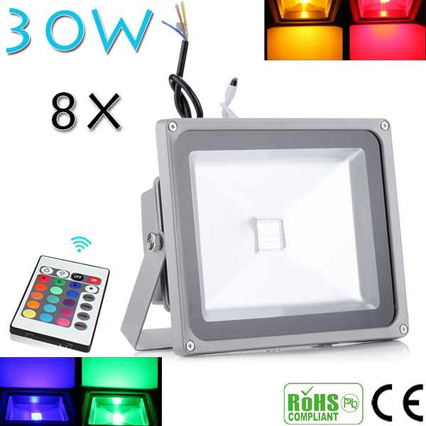 Beautiful Design 30W RGB LED Outdoor Waterproof Flood Light Wash Floodlight Spotlight Lighting With Remote Controller AC85-265V(China (Mainland))
