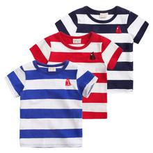 The boy girl striped short sleeve T-shirt summer 2016 child baby cotton casual tops tees T-shirt little chidren clothes 1034 24