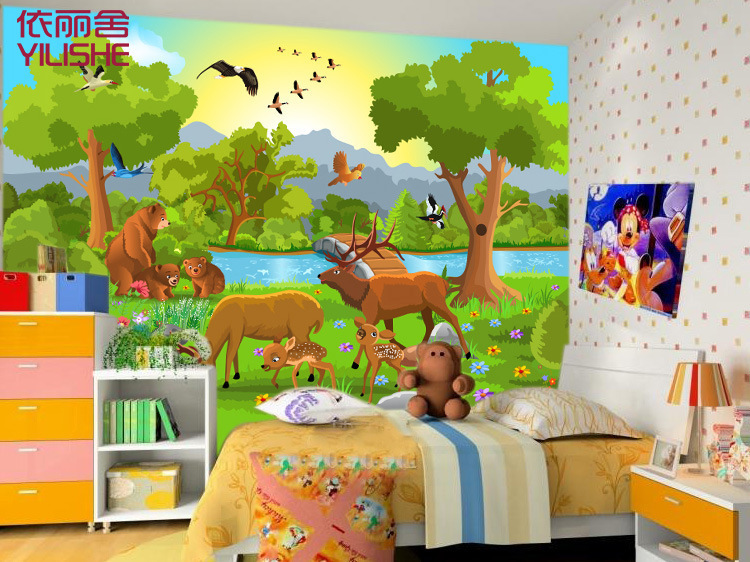 3d personality PVC mural wallpaper children cartoon the forest animals sofa TV living room and study room background(China (Mainland))