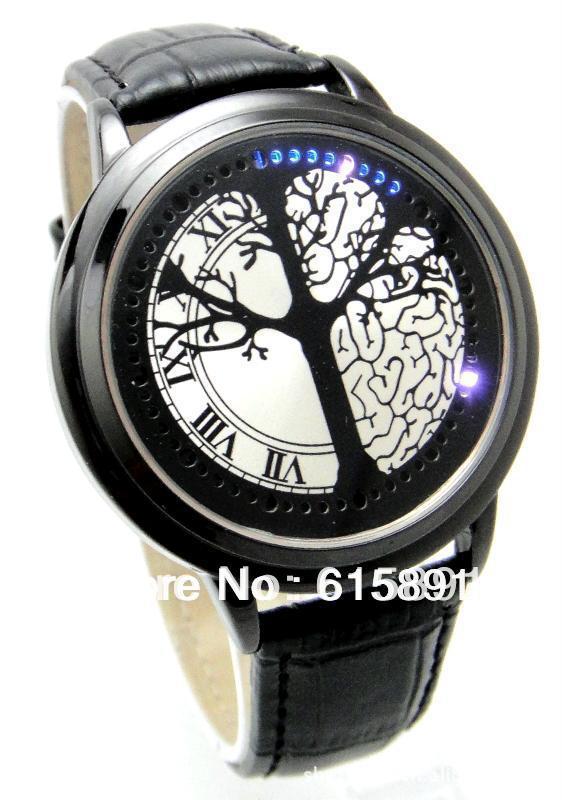 Гаджет  Hot Sale Touch Screen led binary watch Casual creative Tree Binary Led Touch Digital Wrist Watch PU Leather watch men