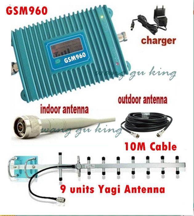 Display LCD GSM 900 Mhz Mobile Phone GSM 960 Signal Booster celular GSM repetidor de sinal +13 dBi 9 unidades Yagi antena + cabo(China (Mainland))