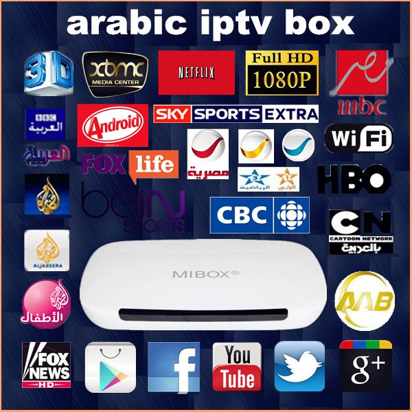 Free 1 Year Arabic IPTV BOX quad core sky/Bein Sports MBC,400+Arabic Channel HD tv box, KODI, Wifi,HDMI, Mini PC smart TV BOX(China (Mainland))
