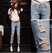 2015 мода горячая распродажа женские джинсы весна и лето отверстие джинсы женский оптовая продажа блудниц свободного покроя карандаш брюки мешковатые