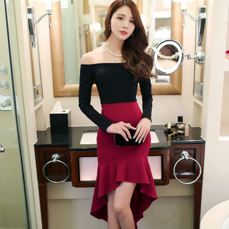 Classy Korean style elegant sexy wine red patchwork annual meeting party night club ball dinner hip package tight mermaid dres(China (Mainland))