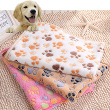 Cute Pet Small Large Warm Paw Print Dog Puppy Fleece Soft Blanket Beds Mat #80171(China (Mainland))