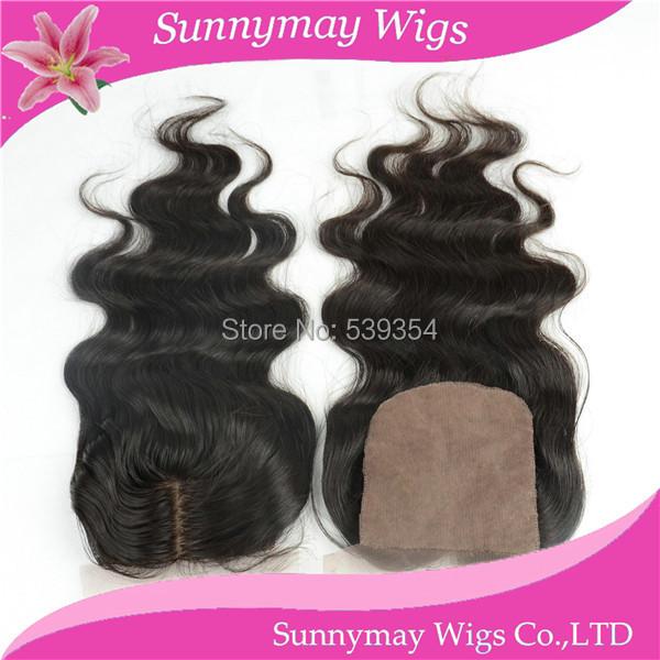 "Фотография 4""*4"" 2 way Natural Looking Middle Part Silk Base Closure Top Lace Closure,Brazilian Top Lace Closure Virgin Human Hair Piece"