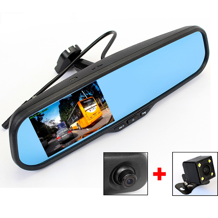 Car DVR Bracket Rearview Mirror Camera Video Recorder Monitor Dual Lens Full HD 1080P With G-sensor Motion Detection(China (Mainland))