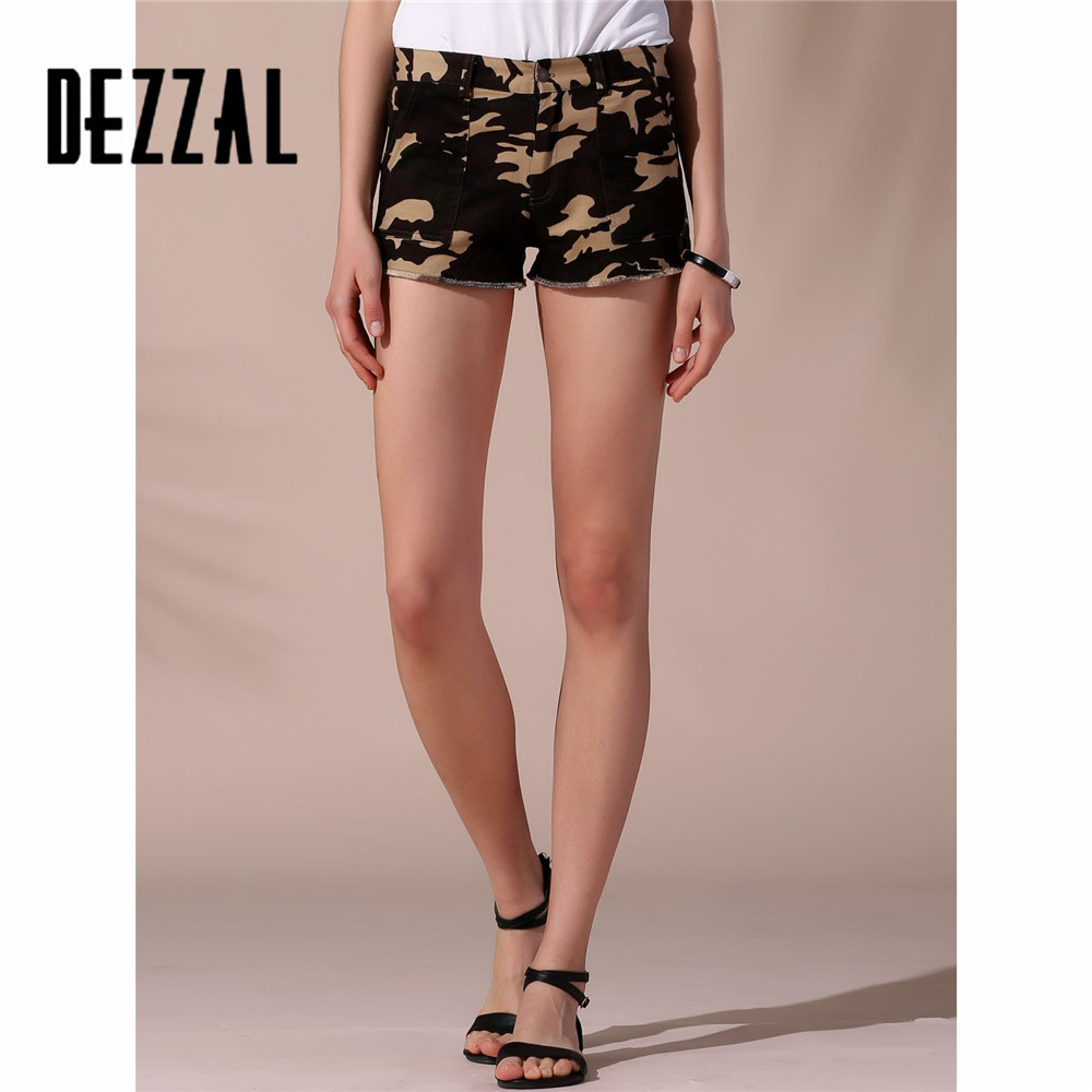 DEZZAL Fashion Straight Zipper Fly Denim Mini Short 2016 Leisure Woman Cotton Casual Shorts Stylish Camo Frayed Shorts For Women(China (Mainland))