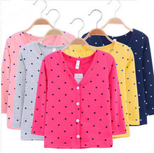 Girl Boy cardigan baby new 2014 spring V neck thin basic dot dog children s clothing
