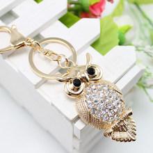 15 style Gold Rhinestone Women Animal Luxury Owl Car Pendant Keychains Bag Charm Cute Crystal Opal Key Ring Chain Gift
