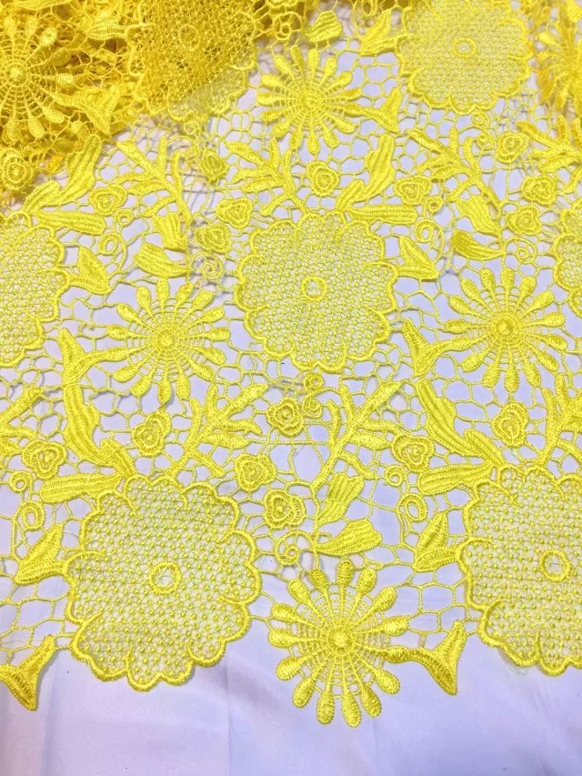 Yellow nice african embroidered lace fabric high quality