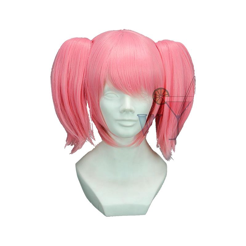High Quality Anime Puella Magi Madoka Magica Kaname Madoka Pink Short Full Lace Double Ponytails Cosplay Wig