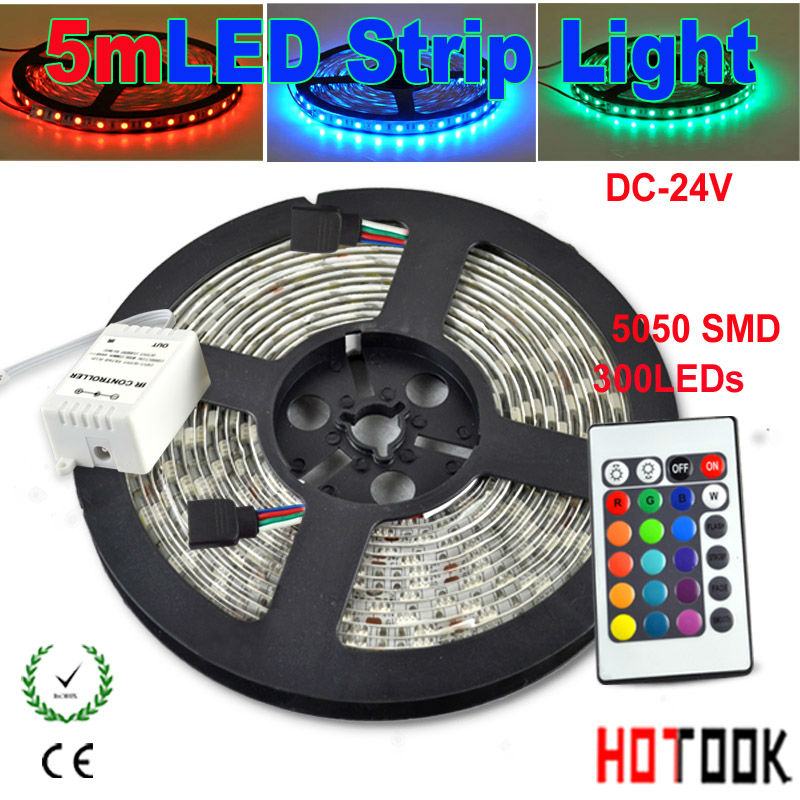 5m LED Strip Lighting flexible 24V CD RGB 5050 Light stripe Tiras LED dimmer IP65 Waterproof String 24key Remote Control CE RoHS(China (Mainland))