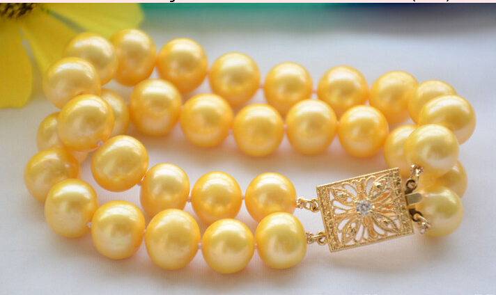 FREE shipping&gt; 2strands 12mm ROUND golden Freshwater cultured PEARL bracelet 8inch (Z6467)<br><br>Aliexpress