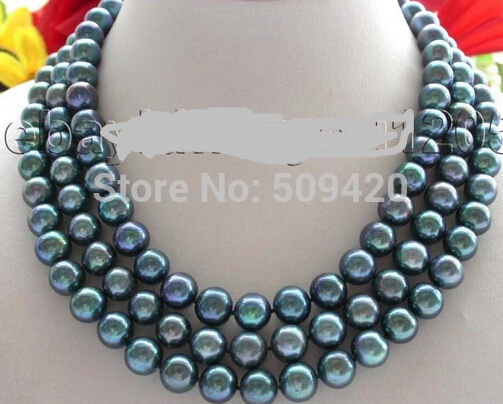 W&amp;O653 3rows Genuine Natural 10mm Peacock Round Pearl Necklace (C0309)<br><br>Aliexpress