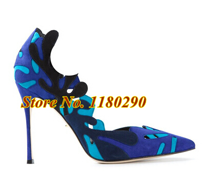 Hot Selling Women Fashion Pointed Toe Suede Leather Cut-out Patchwork Pumps Laser-cut High Heels Dress Shoes