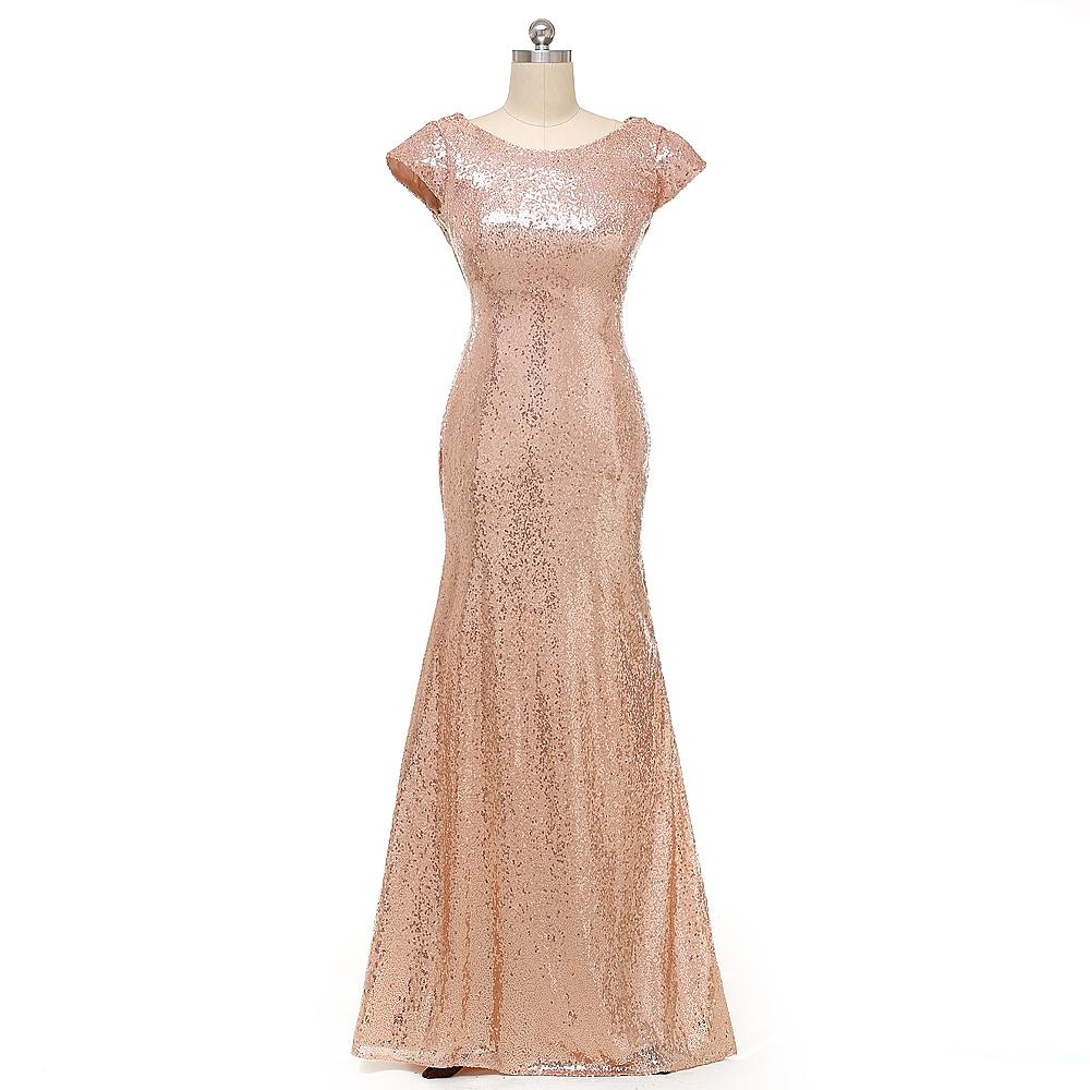 meerjungfrau lange rose gold pailletten brautjungfer kleider 2016 kurzarm bodenlangen abendkleid. Black Bedroom Furniture Sets. Home Design Ideas