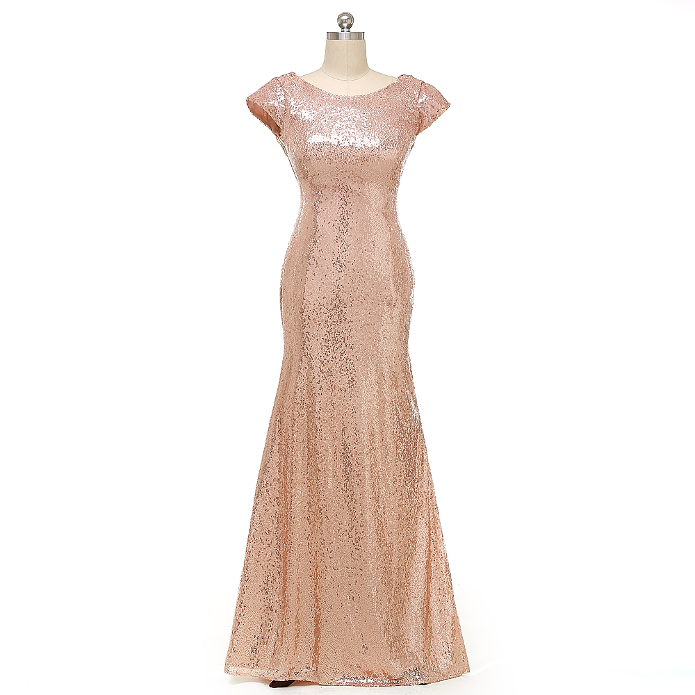 Mermaid Long Rose Gold Sequined Bridesmaid Dresses 2016