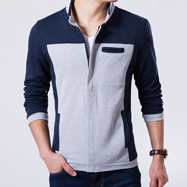 2015 New Model Men Fashion Jackets Plus Size M-3XL Patchwork Design Outerwear 2015 Man Casual Coats(China (Mainland))