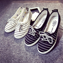 Fashion Women Casual Shoes Ballet Flats Loafers Breathable Women Flats Lace-up Striped Canvas Flats Shoes Women Shallow Mouth