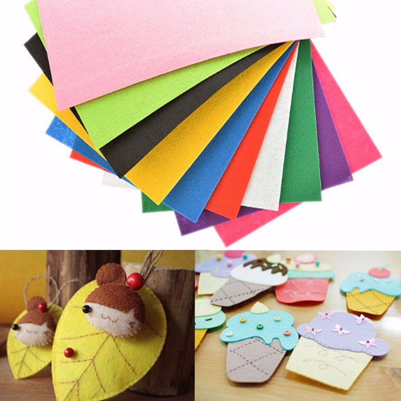 10 Colors 2mm Thick Non-woven Felt Sheets Kids DIY AssortedFabric Square Embroidery Scrapbooking Craft(China (Mainland))