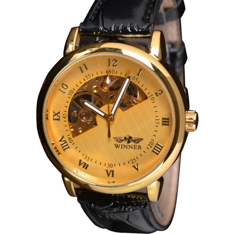 Luxury Famous Fashion Brand Winner Leather Strap Men  Mechanical Hand Wind Sport Skeleton Watch Man Dress Mechanical Wristwatch<br><br>Aliexpress