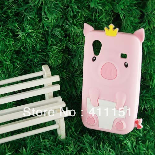 Free Shipping 3D Cute Pig Rubber Case Cover Skin For Samsung Galaxy Ace S5830,Mobile Phone Case