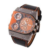 Oulm 9315 del hombre deportes zona horaria múltiple Quart barco uñas militar reloj 3-Movt cuarzo especial diseño único Dial banda de cuero