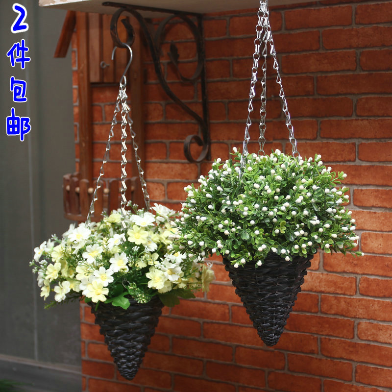 Decorative Hanging Flower Baskets : Plastic flowers willow hanging basket sets flower