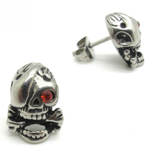 Hot Men's Boys' Gothic Pirate Red Crystal Eyes Earrings Studs Cool316L Stainless Steel Ear Pin Fashion Jewellery(China (Mainland))