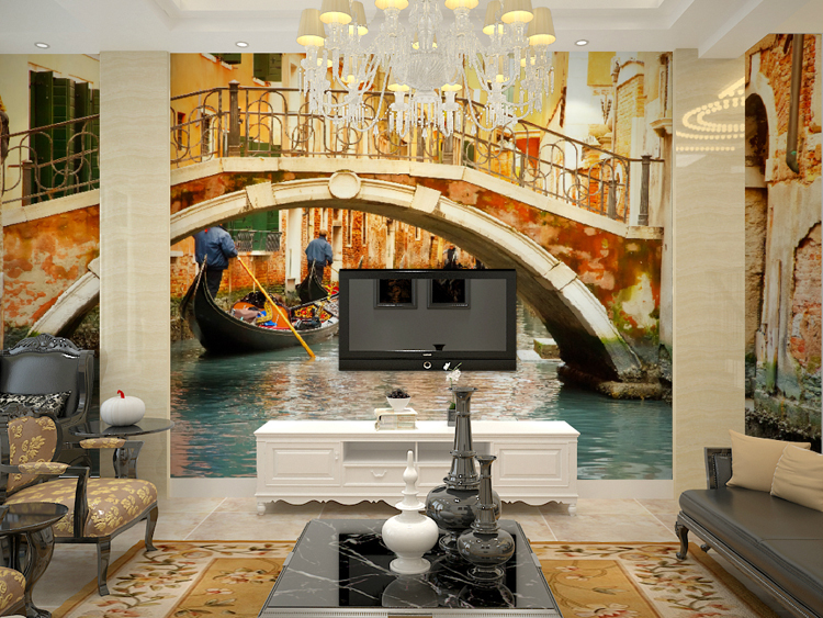 Mural venice 3d large mural wallpaper bedroom sofa living for Art mural wallpaper uk