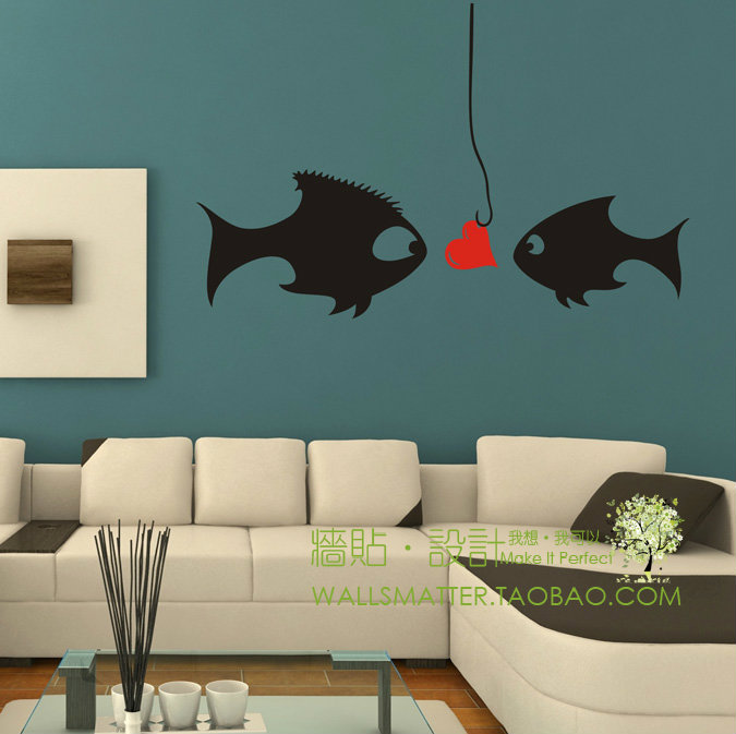 """Cartoon kissing fish"" romantic Wedding room bedroom/living room sofa TV background decorative wall stickers,free shipping(China (Mainland))"
