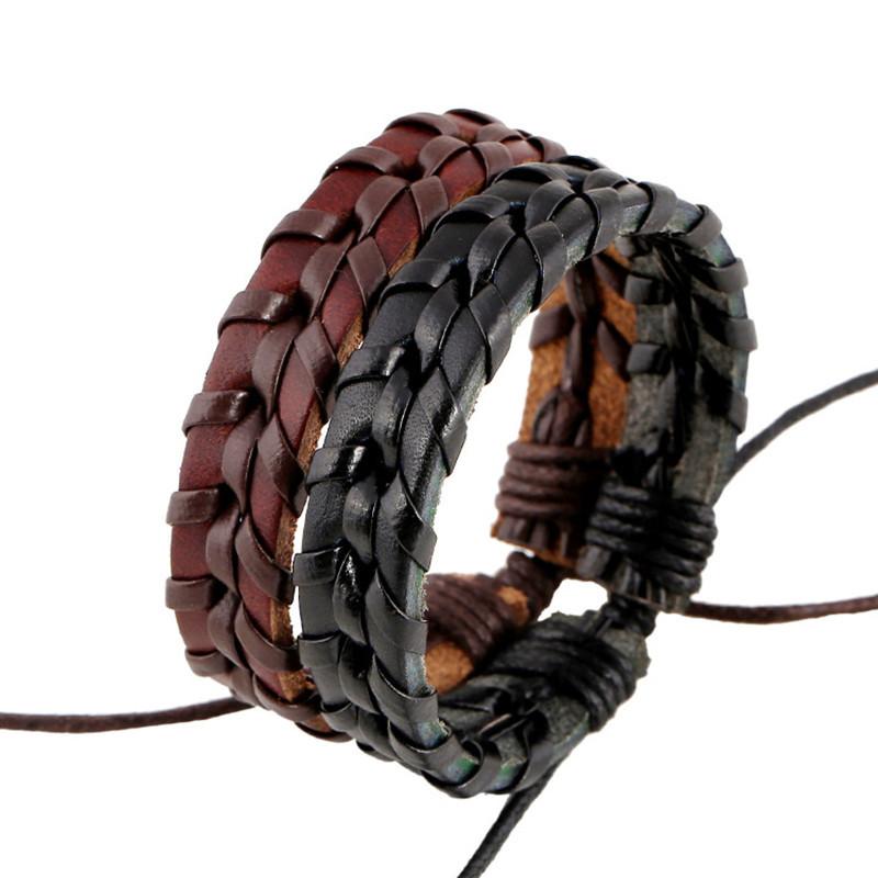New Arrive Leather Bracelets Bangle Man Adjustable Handmade Charm Bracelet Rope Braided Bracelet Jewelry(China (Mainland))