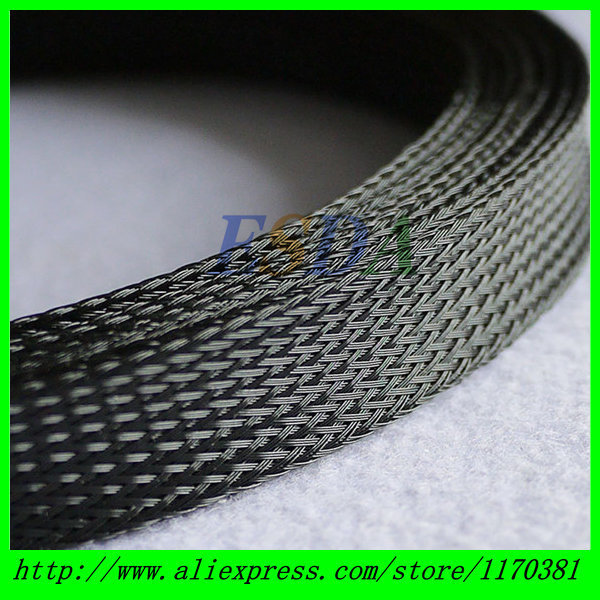 free shipping 10m Black General Cable Protection 18mm Dia PET Braided Cable Sleeve(China (Mainland))