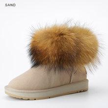 INOE bò da lộn da thật lớn cáo lông ngắn cổ chân nữ mùa đông Ủng cho nữ mùa đông Màu Đen Nâu chống trơn trượt(China)