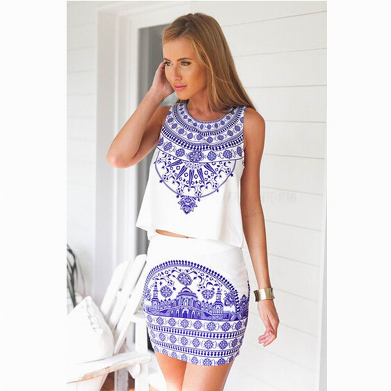 New 2015 Summer 2 Two Piece Set Dress Bodycon Outfits Women Beach Dress Club Vintage Porcelain ...