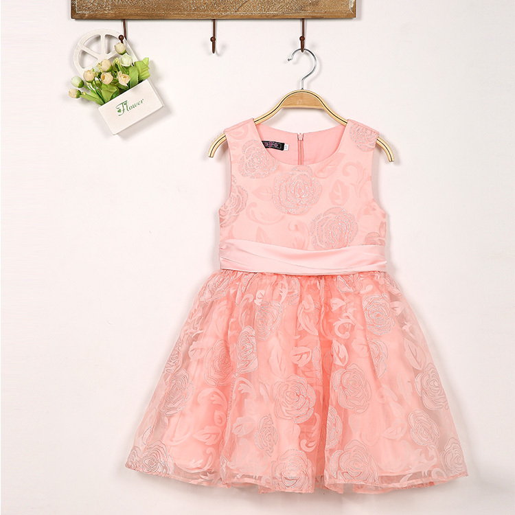 2015 New Designer Girls Dresses Baby Girl Party Dresses Rose Pattern Girl Clothes Lace Flower Dress(China (Mainland))