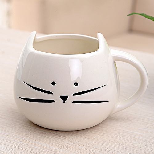 PHFU Coffee Cup Black Cat Animal Milk Cup Ceramic Lovers Mug Cute Birthday gift,Christmas Gift(White)(China (Mainland))